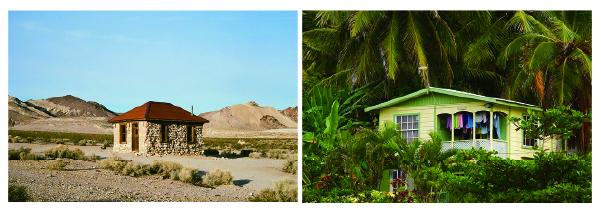 砂漠にある家と熱帯雨林にある家